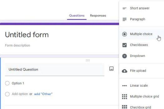 Choosing a question type in Google Forms