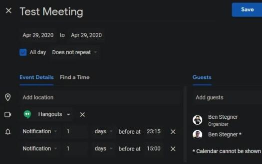 Google Hangouts Schedule Meeting