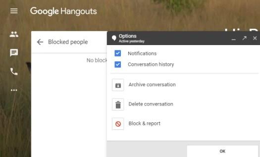 Hangouts Block People