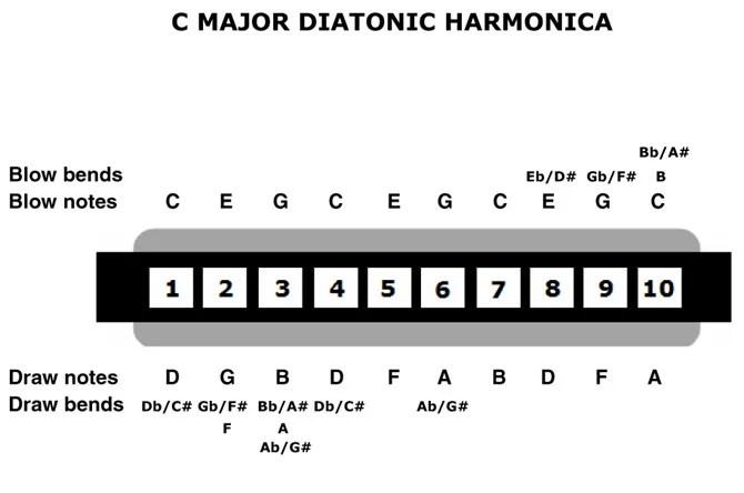 درس هارمونيكا من صفحة واحدة للمبتدئين في التعليمات