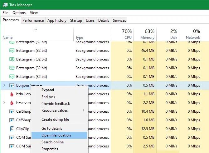 Administrador de tareas Abrir ubicación del archivo