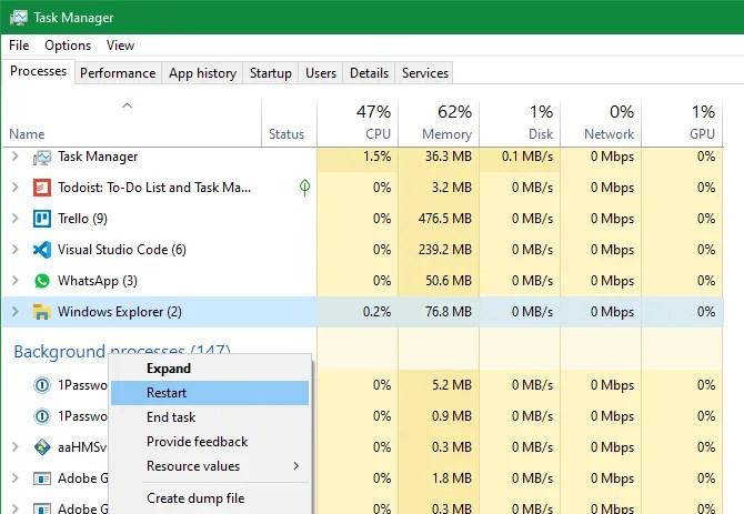 Administrador de tareas Reiniciar el Explorador de archivos