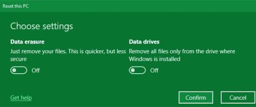 Windows Factory Reset Options