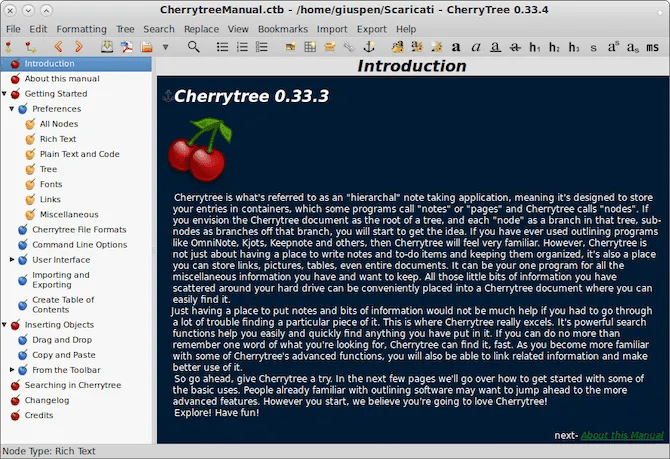 CherryTree interface