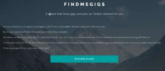 Find Me Gigs automatically searches for job postings on Twitter and sends you an email with the top 5 options every day
