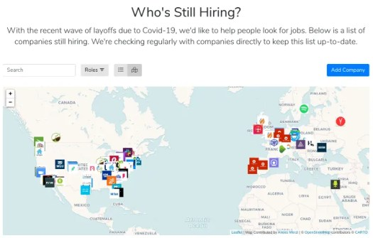 Check Levels.FYI's map of companies still hiring during the covid-19 pandemic