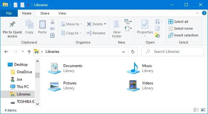 Библиотеки Windows 10