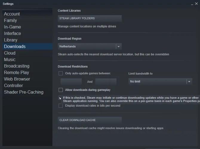 Tweak Steam for Windows 10 تحسينات الألعاب