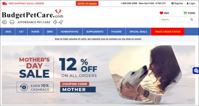 Página principal de Budget Pet Care