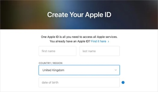 Create Your Apple ID website with Country selected