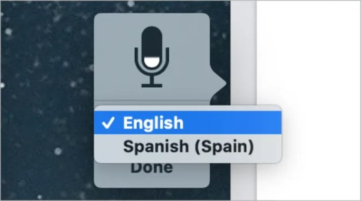 Dictation microphone with language options