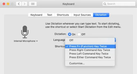 Dictation shortcut dropdown menu in System Preferences