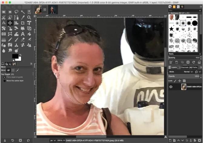 GIMP انسخ الوجه المحدد