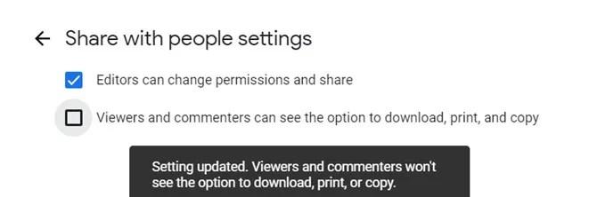 Google Drive Отключить Загрузить Распечатать Копировать
