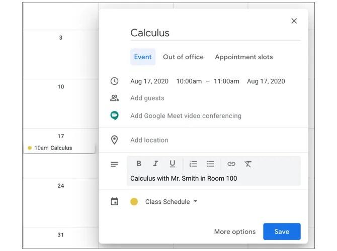 Календарь Google New Class Event