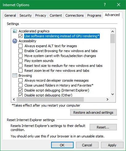 Internet Explorer Use Software Rendering