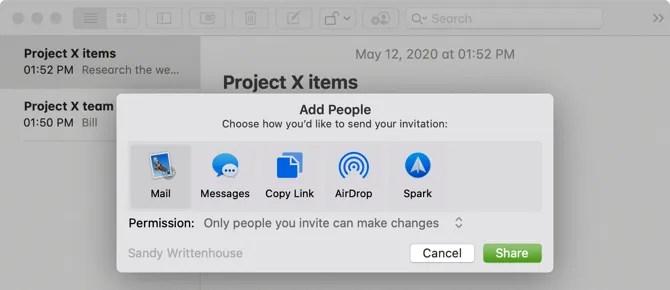 Mac Notes Добавить людей