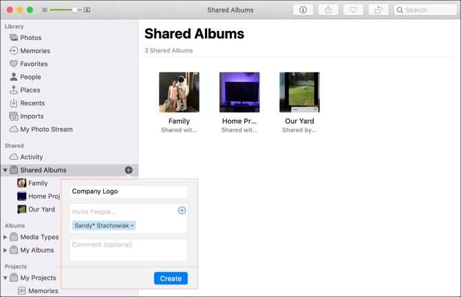 Mac Photos Создать общий альбом