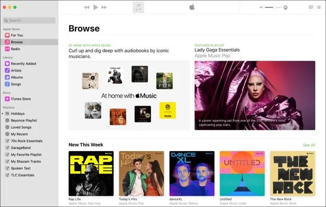 Музыкальное приложение Mac-Browse View
