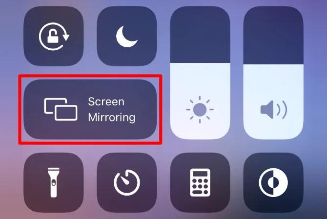 Кнопка зеркалирования экрана из iPhone Control Center