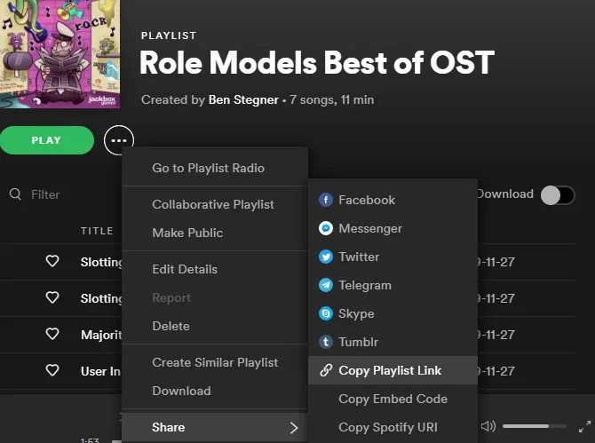 Spotify Поделиться Плейлист