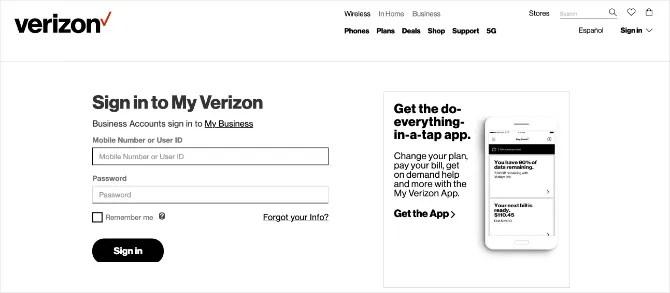 Баннер домашней страницы Verizon