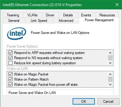 Windows Disable Wake on LAN