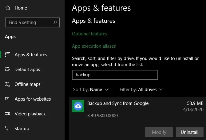 Windows удалить Google Диск