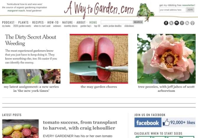 «Дорога в сад» Маргарет Роуч - один из лучших веб-сайтов и блогов, посвященных садоводству, со многими бесплатными инструментами и подкастом.