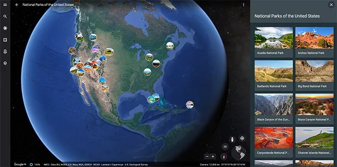 Google Maps Tour National Parks of the United States