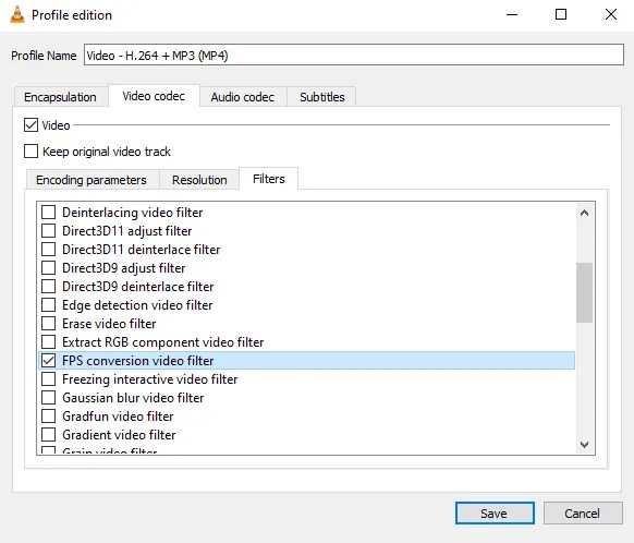 Select the filter in the VLC conversion screen