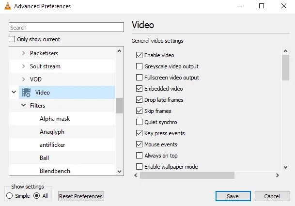 Edit video preferences in VLC