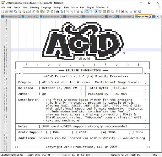 Notepad ++ NFO файлы