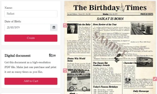 Create a fake newspaper of your birth date at The Birthday Times