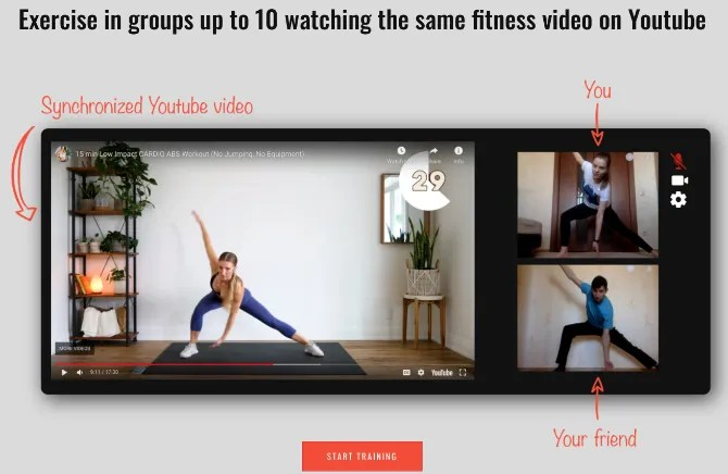 Co-Train Space lets you exercise to YouTube videos live with up to 10 friends on webcam
