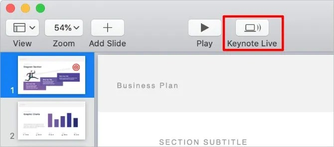 Keynote Live button