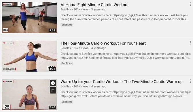 Bowflex предлагает бесплатную кардио-тренировку Youtube видео