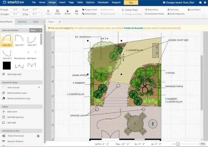 SmartDraw Backyard Design Plan Инструмент для ландшафтного дизайна