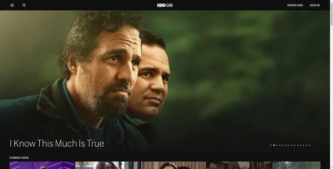 HBO Go потокового веб-сайта