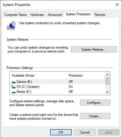 Параметры свойств защиты системы Windows 10