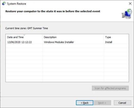 windows 10 system restore points