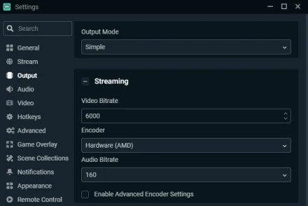 Streamlabs Output Settings