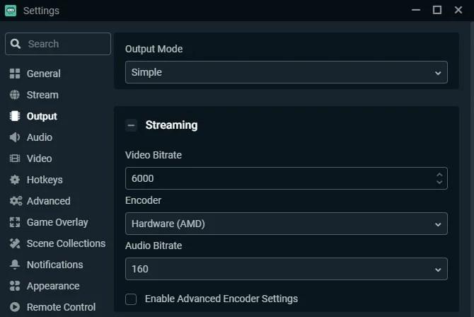 Настройки вывода Streamlabs