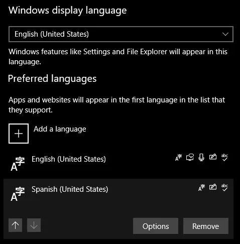 Windows Удалить язык