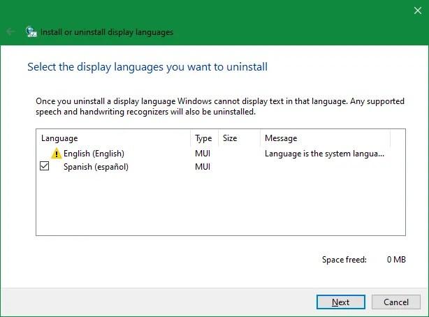Язык удаления Windows