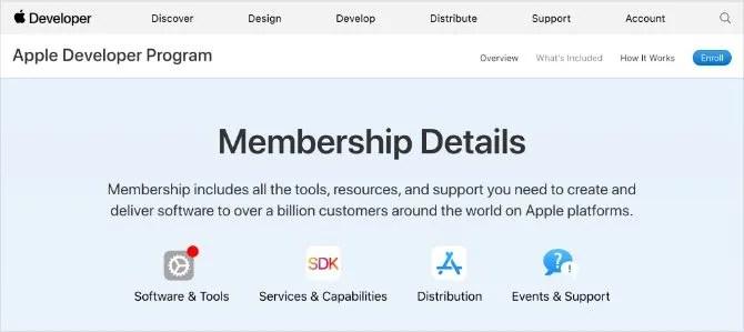 Сведения о членстве в программе Apple Developer Program