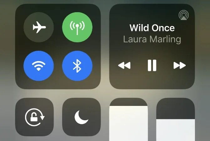Control Center on iPhone with pause button