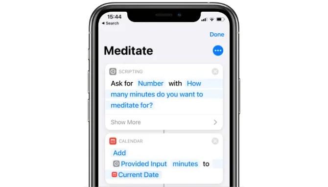 Медитировать Siri Shortcut
