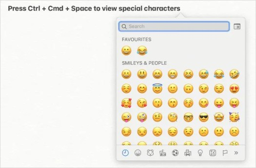 Minimized special character viewer in macOS