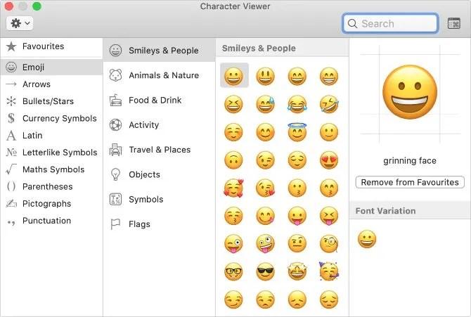 Специальное окно просмотра символов в macOS